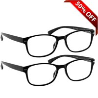 Reading Glasses 1.50| Best 2-Pack of Black Readers for Men and Women | 180 Day Guarantee