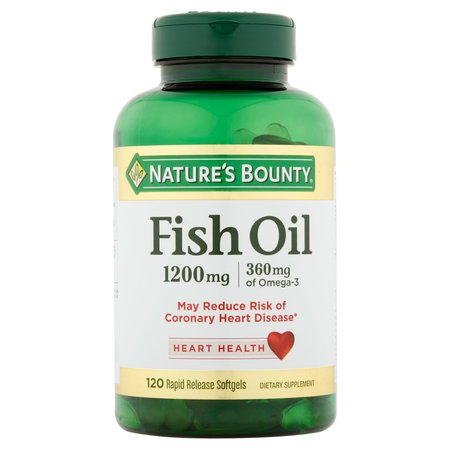 Nature's Bounty Fish Oil Omega-3 Softgels, 1200 mg + 360 mg Omega-3, 120 Ct