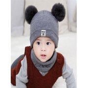 2a1231b2bdc Newborn Kids Baby Boy Girl Pom Hat Winter Warm Knit Crochet Beanie Cap  Scarf Set