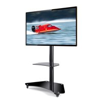 Rfiver Mobile TV Floor Stand/Cart with Shelves and Lockable Caster Wheels for most of 32 to 65 inch TVs, Curved Glass TV Floor Stand with Swivel Mount Bracket and Height Adjustment TF4001