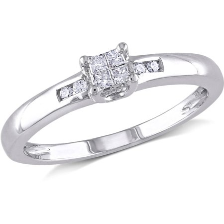 Princess Diamond Engagement Setting (1/8 Carat T.W. Princess and Round-Cut Diamond Sterling Silver Engagement)