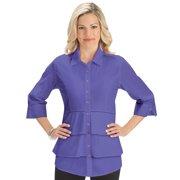 4301807642d74 Women's Tiered Ruffle Front Button Down 3/4 Sleeve Work Career Collar Shirt,  Large