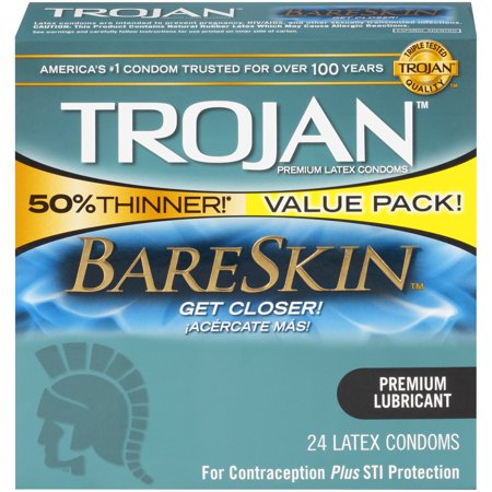 Trojan Sensitivity BareSkin Lubricated, Latex Condoms, 24ct ()