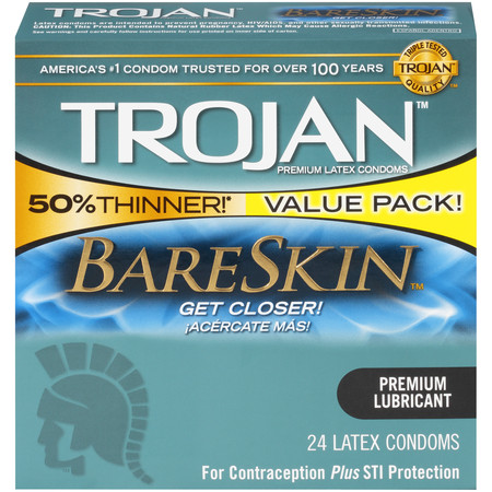 Trojan Sensitivity BareSkin Lubricated, Latex Condoms, 24ct