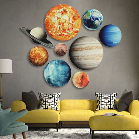 Solar System Wall Stickers Glow In The Dark 9 Planets Mars Outer Space Decal Bedroom Dining Room Decor DIY Gift - Outer Space Classroom Decorations