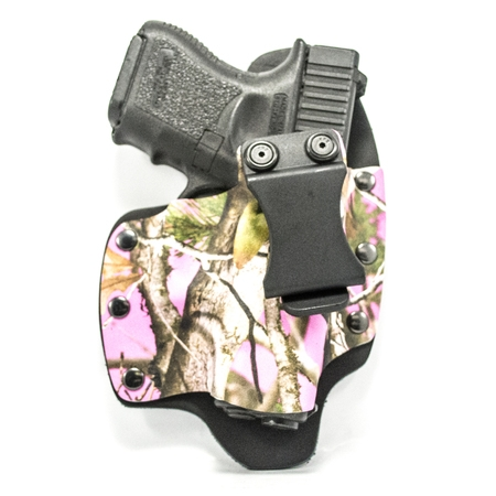 Outlaw Holsters: NT Hybrid Atac Vista Pink Kydex & Leather IWB Gun Holster for Glock 43 w/TLR6 Laser, Right (Best Laser For Glock 43)
