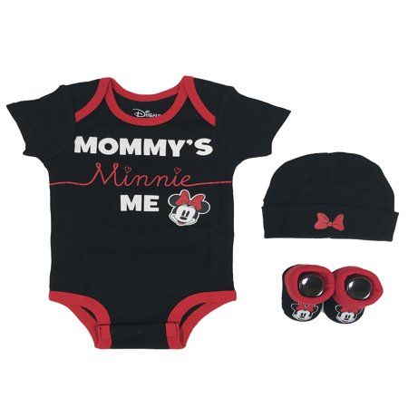 Disney Minnie Mouse Short Sleeve Bodysuit, Booties & Cap, 3-piece Layette Gift Set (Newborn Baby Girls)