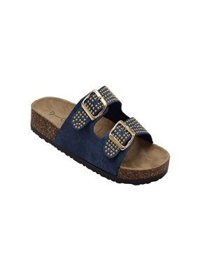 Kylie-07 Women Double Buckle Straps Sandals Flip Flop Platform Footbed Sandals Denim 6.5