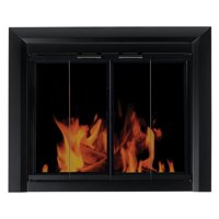 Pleasant Hearth Clairmont Fireplace Screen and Bi-Fold Track-Free Smoked Glass Doors - Black