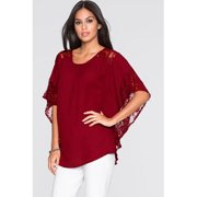 Women Loose Shirt Bat Style Lace Sleeves Blouse Red Vine