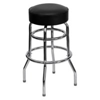 Flash Furniture Double Ring Chrome Barstool with Seat, Multiple Colors