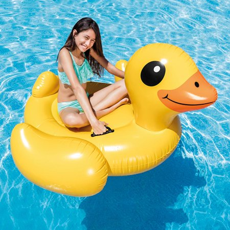 Intex Inflatable Yellow Duck Ride-On Pool Float, 58