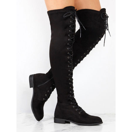 Women Lace Up Side Zip Over The Knee Boots Ladies Thigh High Low Heel