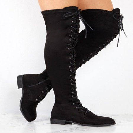 Women Lace Up Side Zip Over The Knee Boots Ladies Thigh High Low Heel Shoes (Halloween Thigh High Boots)