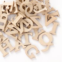Uppercase Gray Craft Letters: Wood, 0.75 inches, 41 pack