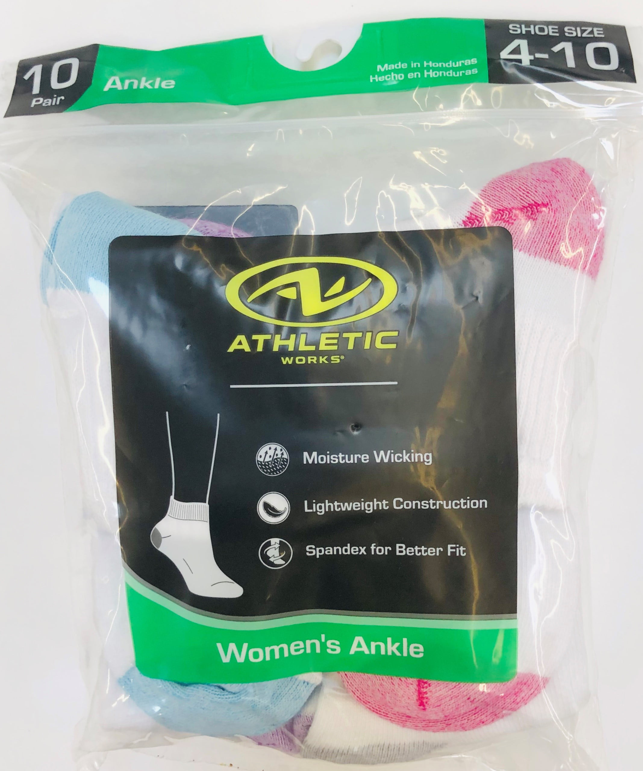 Athletic Works Women's Flat-Knit Ankle Socks, 10 Pairs, White with Colors, 4-10