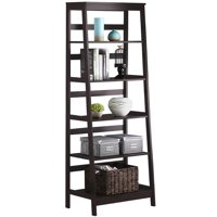 Yaheetech Leaning Ladder Shelf Bookcase, 5 Tier, Wood, Espresso