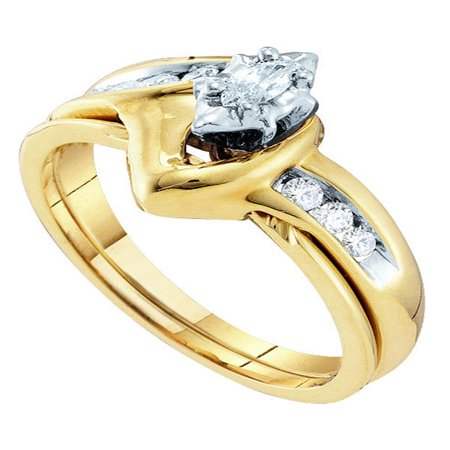 10kt Yellow Gold Womens Marquise Diamond Bridal Wedding Engagement Ring Band Set 1/4 Cttw (Marquise Wedding Ring)