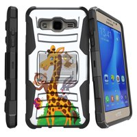 Samsung Galaxy On5 G550 Miniturtle® Clip Armor Dual Layer Case Rugged Exterior with Built in Kickstand + Holster - Cartoon Giraffe