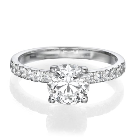 1 1/4 CT Solitaire with Accents Diamond Ring Round Shaped Stone with Accents F/SI1 (Clarity Enhanced) 14K White