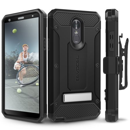 LG Stylo 4 Case, Evocel [Glass Screen Protector] [Belt Clip Holster] [Metal Kickstand] [Porthole Covers] [Full Body] Explorer Series Pro Phone Case for LG G Stylo 4 (2018 Release), Black Black Pvc Holster Case