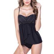 3d00a6be7fe Tirrinia Women Tankini Swimsuit Flyaway Swimdress Top Two Pieces Bathing  Suits Set
