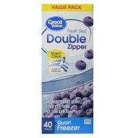 (2 pack) Great Value Double Zipper Freezer Bags, Quart, 40 Count