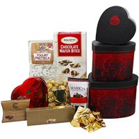 My Heart's Desire Valentines Day Chocolate, Candy and Cookie Heart Shaped Gift Tower, Great Gift Idea for Him or Her
