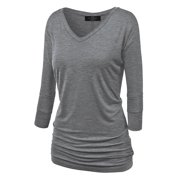 dc9f79af3fdfdb Made by Johnny WT1036 Womens V Neck 3/4 Sleeve Dolman Top With Side Shirring