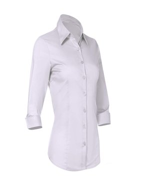 Button Down Shirts For Women By Pier 17 - Tailored, 3/4 Sleeve Shirt With Stretch - Semi Fitted For Slim, Fit Look - 97% Cotton and 3% Spandex - Lightweight and Soft Materials (Medium, White)