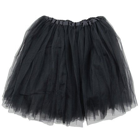Teen Halloween Outfits (Black Adult Size 3-Layer Tulle Tutu Skirt - Princess Halloween Costume, Ballet Dress, Party Outfit, Warrior Dash/ 5K)