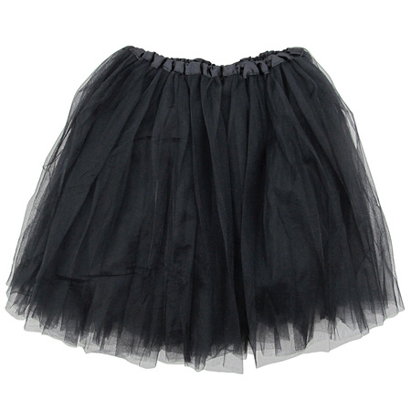 Black Adult Size 3-Layer Tulle Tutu Skirt - Princess Halloween Costume, Ballet Dress, Party Outfit, Warrior Dash/ 5K Run - Cibo Halloween
