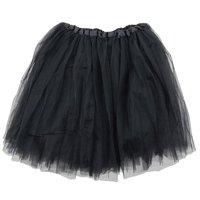 Black Adult Size 3-Layer Tulle Tutu Skirt - Princess Halloween Costume, Ballet Dress, Party Outfit, Warrior Dash/ 5K Run