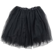 8f5bb4e61f Black Adult Size 3-Layer Tulle Tutu Skirt - Princess Halloween Costume,  Ballet Dress
