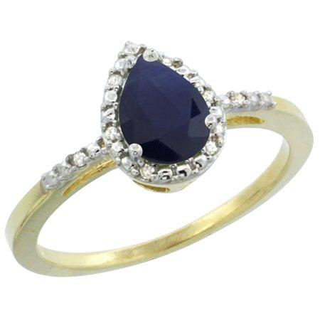 Diamond Blue Pear Sapphires Ring - 10K Yellow Gold Diamond Natural Blue Sapphire Ring Pear 7x5mm, size 6