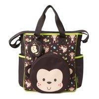 Baby Boom Monkey Applique Tote Diaper Bag