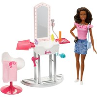 Barbie Furniture Set with Doll, Salon Station & Accessories