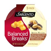 Sargento, Balanced Breaks Colby Jack Natural Cheese/Sea-Salted Peanuts/Blueberry Juice-Infused Dried Cranberries Snacks, 1.5 Oz., 3 Count