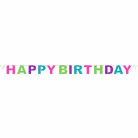 (4 Pack) Multicolor Happy Birthday Glitter Banner - Happy Birthday Garland