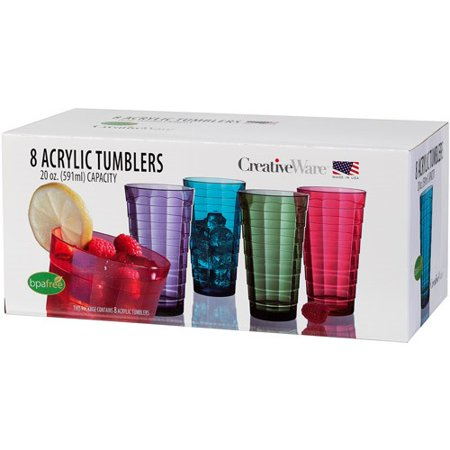 CreativeWare 20-Ounce Mosaic Tumbler Set, Set of 8