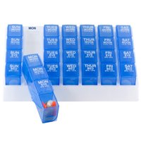 GMS Four-a-Day Weekly Medication Organizer - Large (Blue Pill Boxes in White Tray)