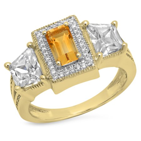 18k Yellow Gold Cathedral Engagement Ring Setting (4.80 Carat (ctw) 18K Gold Emerald Cut Citrine & Tapered & Round White Cubic Zirconia Engagement Ring )