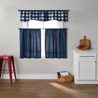 Better Homes & Gardens Checks N Solids 3 Piece Kitchen Curtain Set