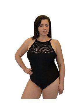 Yacht & Smith Plus Size Womens Swimsuit, Fashion One Piece Bathing Suit Tank (Crochet Black, 1X)