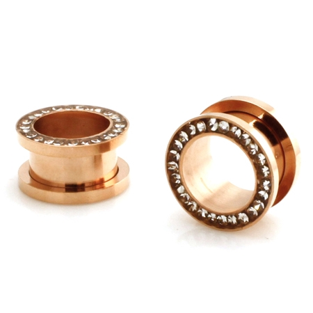 Rose Gold Stainless Steel Hollow Tunnel Ring of Gems Ear Expander Ear Plugs Body Jewelry
