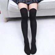 ad0e59b35 Women Knit Cotton Over The Knee Long Socks Thigh High Stocking Socks Black