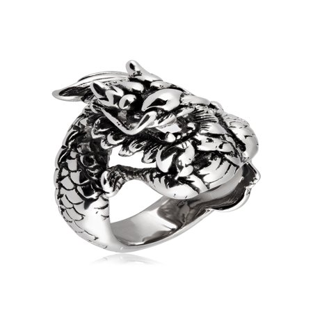 Chinese Dragon Ring (Stainless Steel Antiqued Finish Chinese Dragon Ring (27mm))