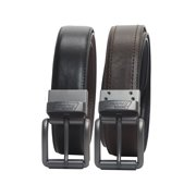 Men's Genuine Leather Reversible Work Belt with Stictching Detail and Gunmetal Buckle