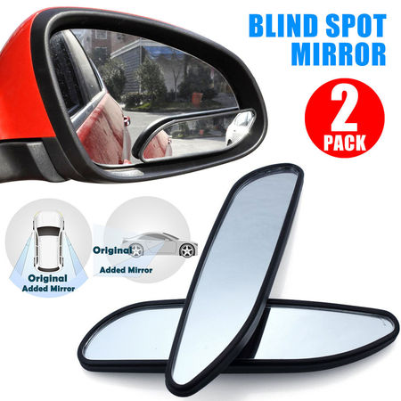 TSV Universal 2 Pack Auto 360° Wide Angle Convex Rear Side View Blind Spot Mirror for Car