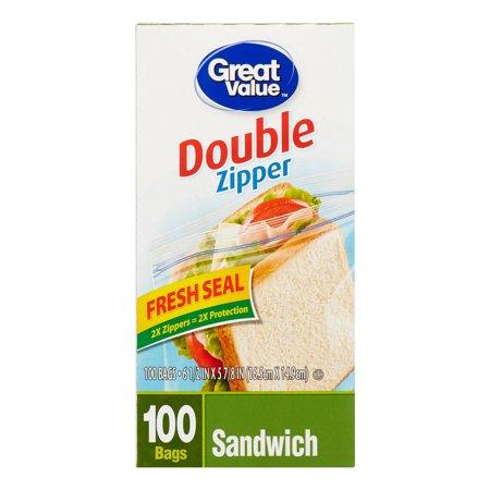 Great Value Fresh Seal Double Zipper Sandwich Bags, 100